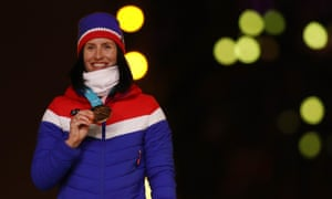 Marit Bjørgen of Norway was rightfully centre-stage during part of the Winter Olympics closing ceremony.