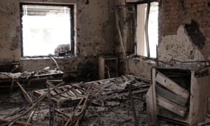 A charred room in the destroyed MSF hospital in Kunduz