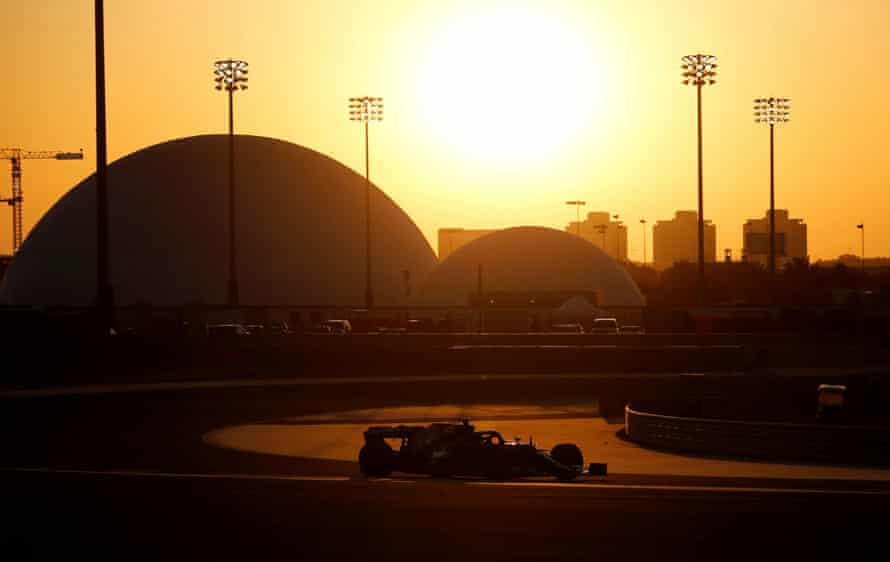 Lewis Hamilton during testing in Bahrain