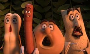 Brenda (Kristen Wiig), Frank (Seth Rogen), Sammy (Ed Norton) and Lavash (David Krumholtz) in Sausage Party
