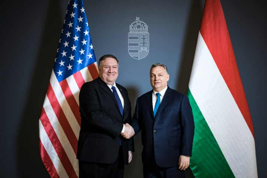 US secretary of state Mike Pompeo and Hungarian PM Viktor Orban in Budapest last week.