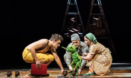 Joe Idris-Roberts (Pinocchio), James Charlton (Jiminy Cricket puppeteer) and Audrey Brisson (Jiminy Cricket).