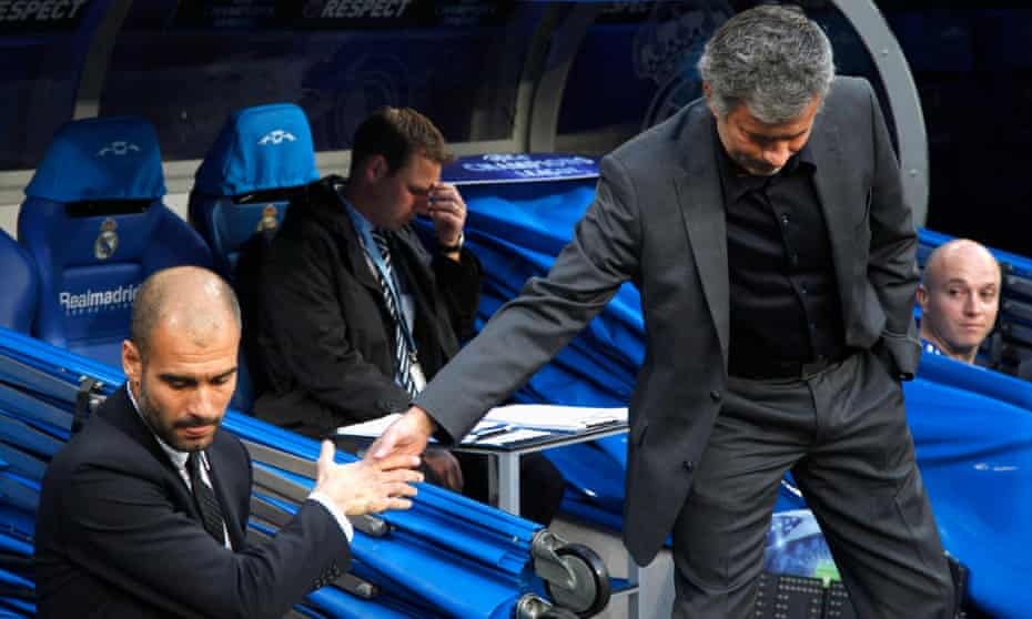 José Mourinho (right) shakes hands with Pep Guardiola before the Champions League semi-final first leg match between Real Madrid and Barcelona, in 2011.