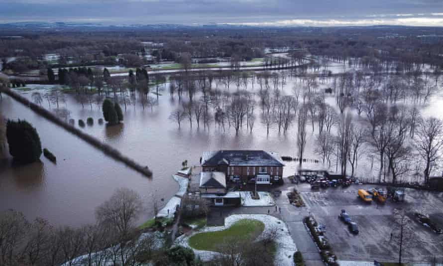 Withington golf course near Manchester, which  acts as a flood plain as the River Mersey broke its banks in Didsbury