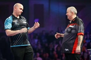 Rob Cross reacts after beating Phil Taylor.