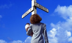 Woman with baby at crossroads between family and career
