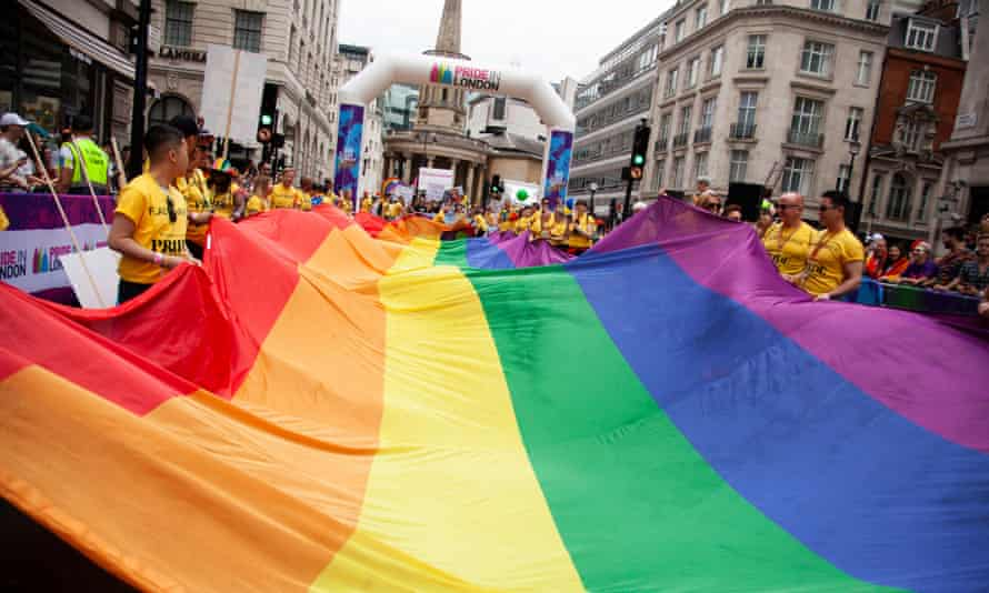 Rainbow flag during Pride 2019