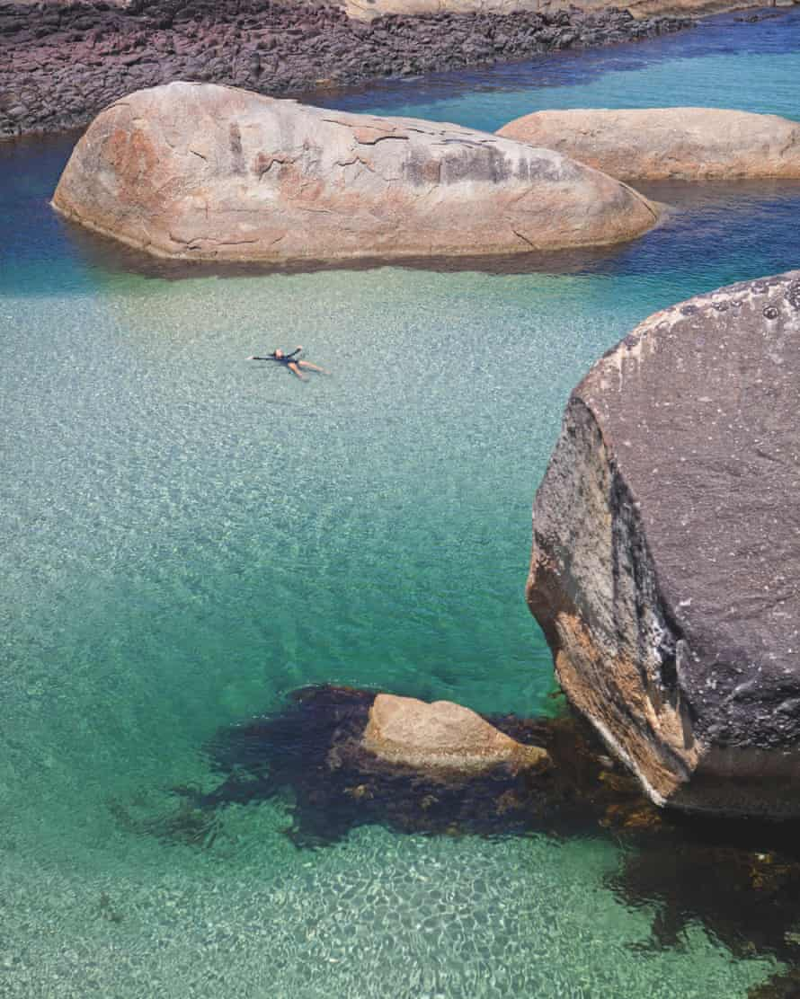 On calm days, when the tide is high and the swell is mild, you can swim between Greens Pool and Elephant cove. Or you can make the short journey over the headland, peering down from the backs of the herd
