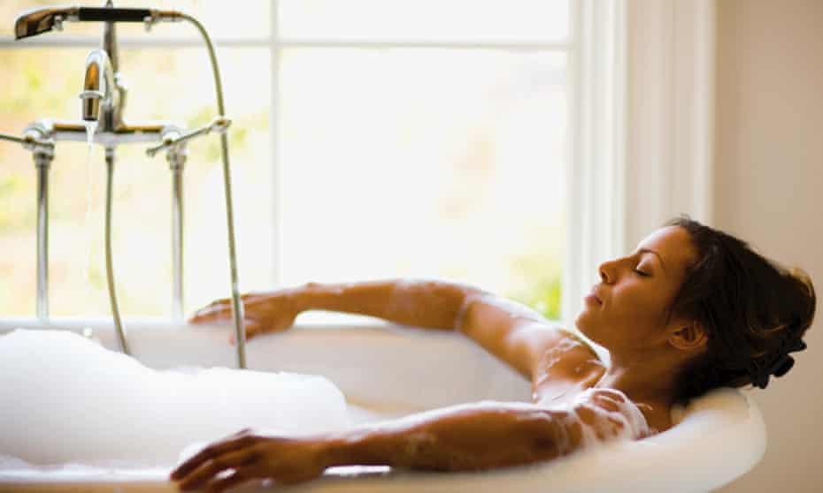 A woman in a bath.