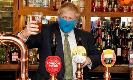 Boris Johnson visiting a pub in his Uxbridge constituency, 10 July 2020