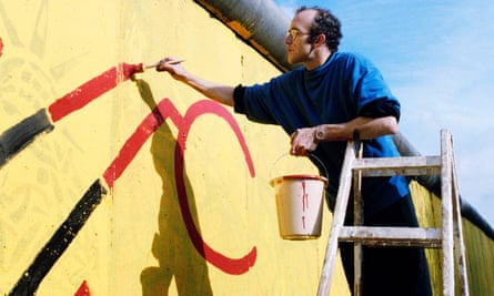 Painting a 100-metre section of the Berlin Wall in 1986.