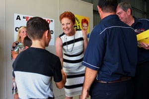 Pauline Hanson meets taxi owners and family members at Suncoast Cabs on the Sunshine Coast.