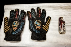 A pair of Real Madrid football gloves