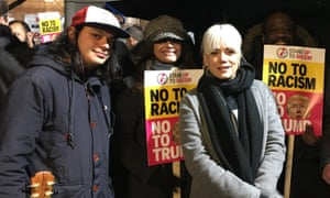 Lily Allen attends the demonstration against US President Donald Trump outside the US Embassy, in Grosvenor Square, London.