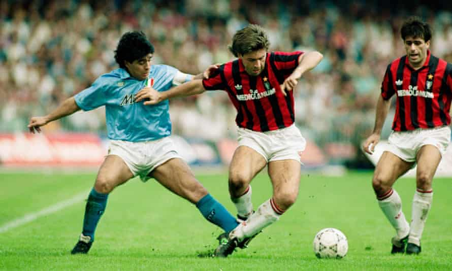 Carlo Ancelotti battles for possession with Diego Maradona (left) during Milan's game at Napoli in October 1990.