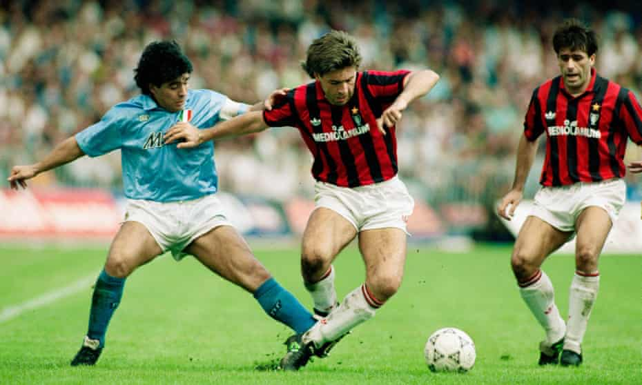 Napoli's Diego Maradona (left) challenges Carlo Ancelotti of Milan during a Serie A match at San Paolo in October 1990.