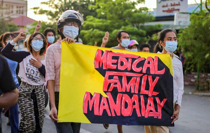Medical workers protest against the junta in Mandalay, Myanmar, on 6 May, 2021