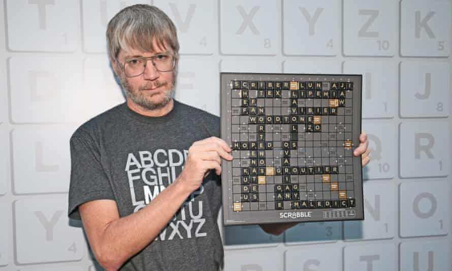 Richards displays the final winning board at the English Scrabble world championships in London.