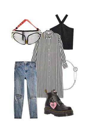 Bemi ShawContributing Stylist'Wear it open over jeans for a chic city look'Shirt dress, £35, monki.com. Jeans, £42, topshop.com. Bag, £168, bimbaylola.com. Necklace, £170, Martine Ali at ssense.com. Boots, £179, Dr. Martens X Lazy Oaf at drmartens.com. Top, £19.99, mango.com.