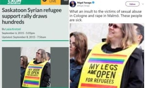 Lasia Kretzel's original picture of a demonstrator at a pro-refugee rally, alongside the doctored image that Nigel Farage shared.