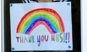 A rainbow drawing supporting the NHS carers in London.
