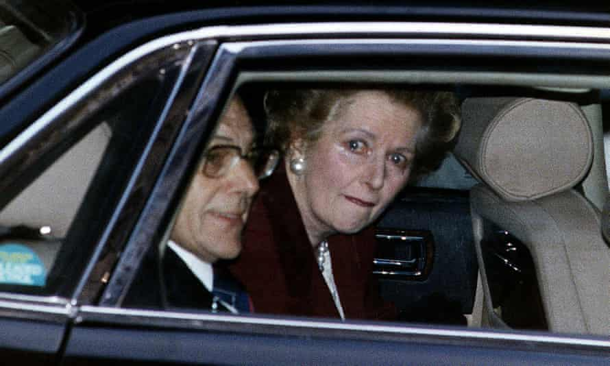 Margaret Thatcher leaves Downing Street for the last time as PM.