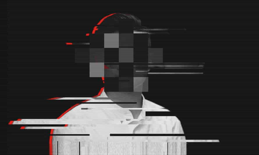 Glitched composite of a man from Hong Kong
