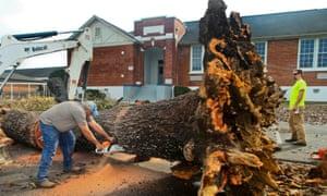 1月3日的风暴袭击了阿拉巴马州,在Rehobeth中学外面翻了一棵大树。