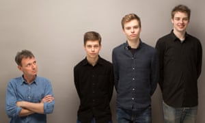 Writer Tim Dowling with sons (from left) Will, Johnnie and Barnaby.