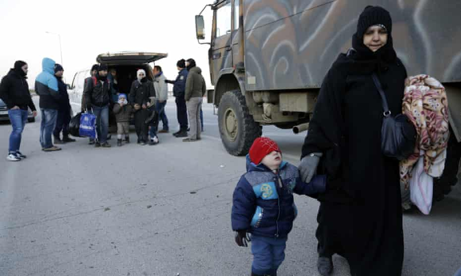 Migrant at the border between Greece and Turkey