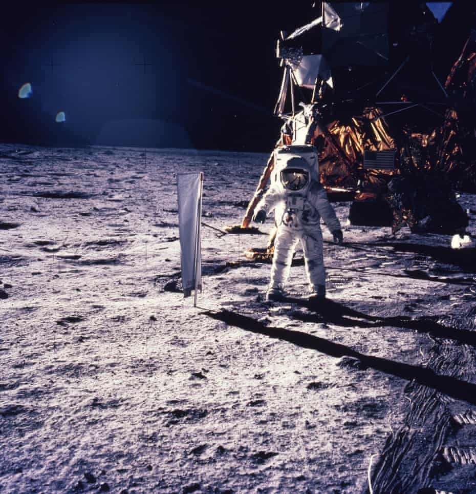 Stunned wonder … Aldrin sets up an experiment into solar wind.