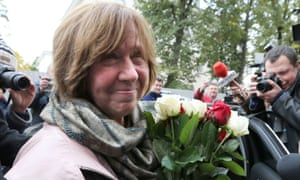 Svetlana Alexievich the day she won the 2015 Nobel Prize. 'I do not remember any questions in my childhood other than questions about death and loss'
