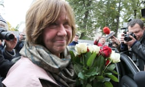 Svetlana Alexievich arrives for a press conference in Minsk following the announcement of her Nobel prize.