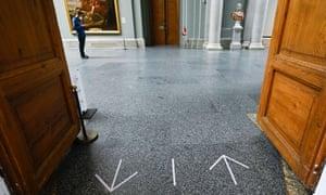 Walk this way … the Thyssen-Bornemisza museum in Madrid prepares for returning crowds.