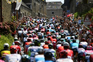 The riders pass through the village of La Chapelle-Janson during the 231km seventh stage between Fougères and Chartres.