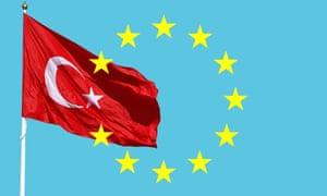 Turkish flag overlaying the European Union flag's stars