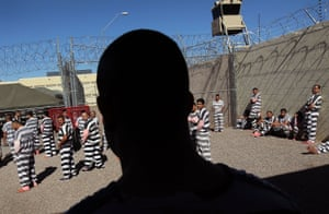 Immigrants are detained in 'Tent City' at the Maricopa County Jail