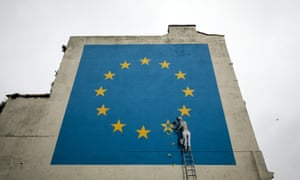 The Banksy Brexit mural near the ferry terminal in Dover.