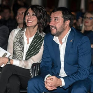 Matteo Salvini and Elisa Isoardi pictured together at a book launch.