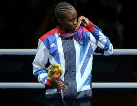Adams celebrates her victory in the flyweight division at the London Olympics in 2012