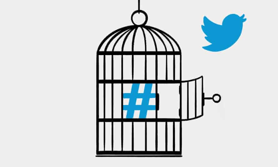 Illustration of hashtag in cage while Twitter bird flies away