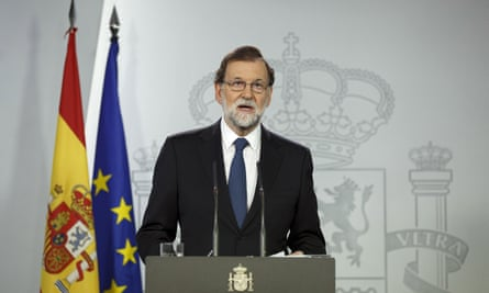 The Spanish prime minister, Mariano Rajoy, makes a press statement about the Catalan referendum
