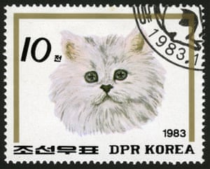 A 1980s stamp from North Korea featuring a cat, not a missile