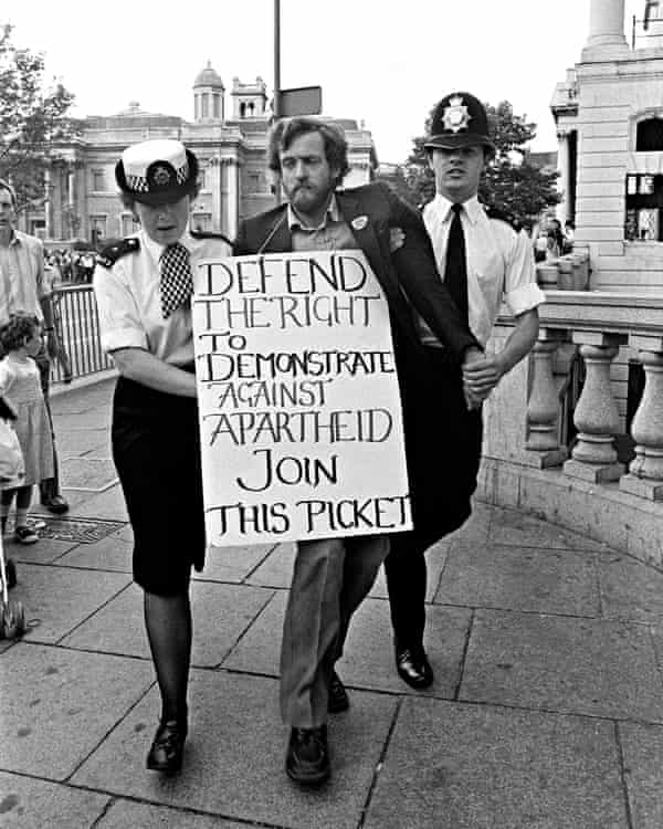 Jeremy Corbyn MP being arrested in front of South Africa House in London in 1984.