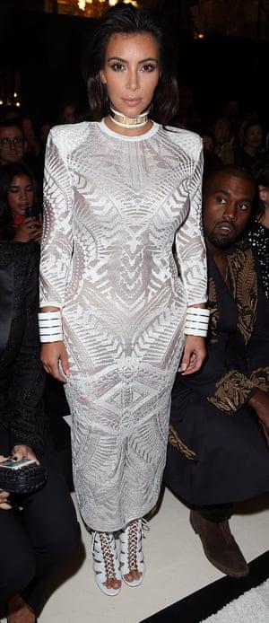 Kim Kardashian and Kanye West, Paris Fashion Week.