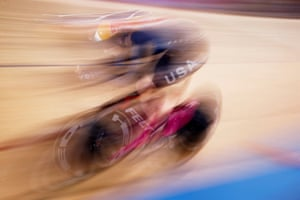 United States' Chloe Dygert on her way to winning gold in the women's individual pursuit