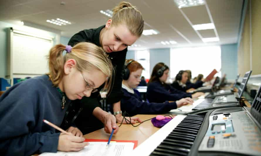Jenny Robertson music teacher with a 3rd year class at Craigmount High School Edinburgh