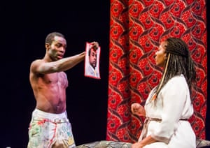 Paapa Essiedu (Hamlet) and Tanya Moodie (Gertrude) in Hamlet by William Shakespeare at the Royal Shakespeare Theatre, Stratford. An RSC production