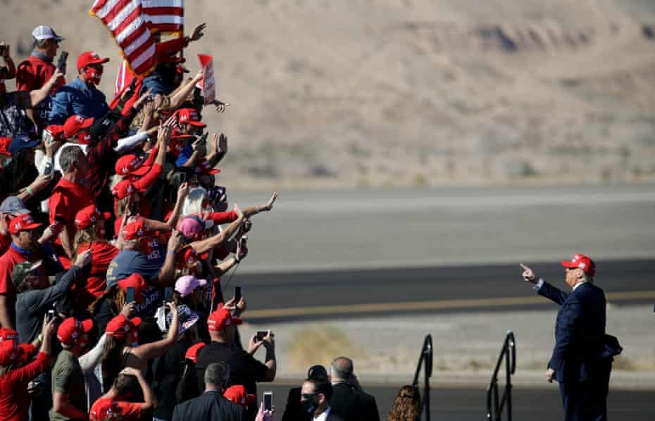 Donald Trump at a campaign rally on 28 October in Bullhead City, Arizona.