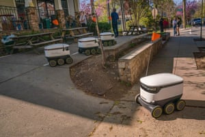 Washington DC, US: a Starship Technologies robot returns to Broad Branch market after delivering food to local residents